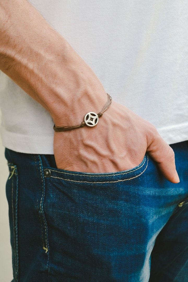 Bracelet for men, silver circle charm, brown cord, men's bracelet, gift for him, friendship yoga bracelet. men's jewelry, rhombus, karma