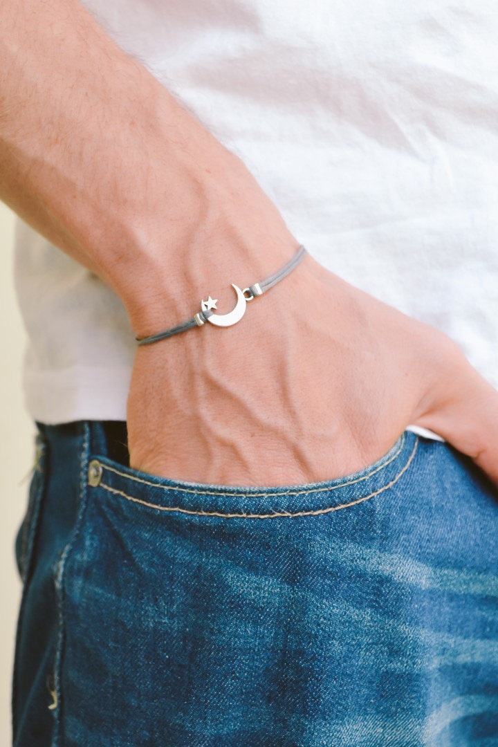 Men's bracelet, silver crescent moon charm, gray cords, bracelet for men, gift for him, moon star bracelet, clasp, mens jewelry