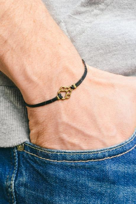 Paw bracelet, men's bracelet, bronze paw charm, black cords, Birthday gift, animal lovers, bracelet for men, dog, pet lover, vegan, mens