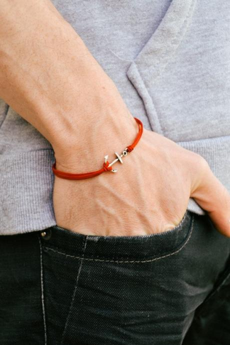 Anchor cord bracelet, men's bracelet, silver anchor charm, red cords, bracelet for men, gift for him, sailing, boat, maritime, mens jewelry