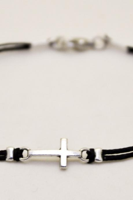 Graduation gift, Cross bracelet for men, men's bracelet with a silver cross pendant, black cord, gift for him, christian catholic jewelry