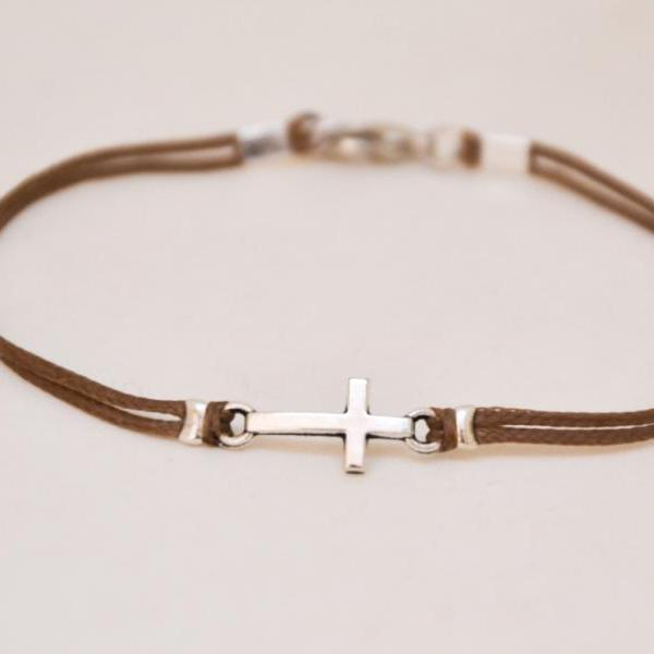 Birthday gift, Cross bracelet for men, groomsmen gift, men's bracelet with a silver cross pendant, brown cord, christian catholic jewelry